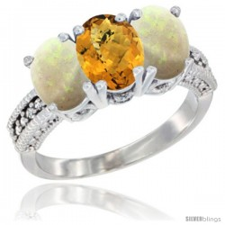 14K White Gold Natural Whisky Quartz & Opal Sides Ring 3-Stone 7x5 mm Oval Diamond Accent