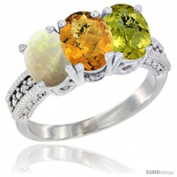 14K White Gold Natural Opal, Whisky Quartz & Lemon Quartz Ring 3-Stone 7x5 mm Oval Diamond Accent