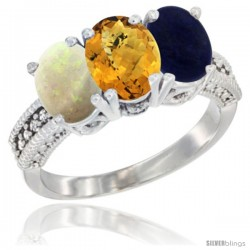 14K White Gold Natural Opal, Whisky Quartz & Lapis Ring 3-Stone 7x5 mm Oval Diamond Accent