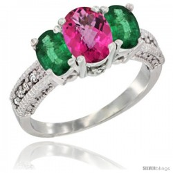 10K White Gold Ladies Oval Natural Pink Topaz 3-Stone Ring with Emerald Sides Diamond Accent