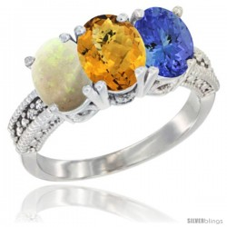 14K White Gold Natural Opal, Whisky Quartz & Tanzanite Ring 3-Stone 7x5 mm Oval Diamond Accent