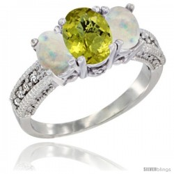 14k White Gold Ladies Oval Natural Lemon Quartz 3-Stone Ring with Opal Sides Diamond Accent