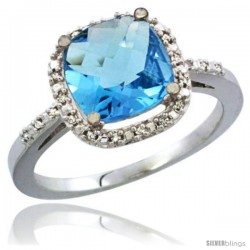 10K White Gold Natural Swiss Blue Topaz Ring Cushion-cut 8x8 Stone Diamond Accent