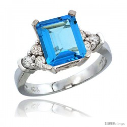 10K White Gold Natural Swiss Blue Topaz Ring Emerald-shape 9x7 Stone Diamond Accent