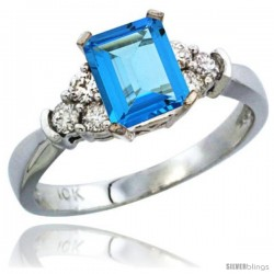 10K White Gold Natural Swiss Blue Topaz Ring Emerald-shape 7x5 Stone Diamond Accent
