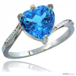 10K White Gold Natural Swiss Blue Topaz Ring Heart-shape 9x9 Stone Diamond Accent