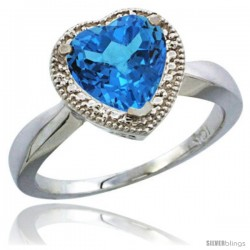 10K White Gold Natural Swiss Blue Topaz Ring Heart-shape 8x8 Stone Diamond Accent