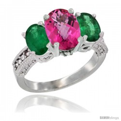 10K White Gold Ladies Natural Pink Topaz Oval 3 Stone Ring with Emerald Sides Diamond Accent