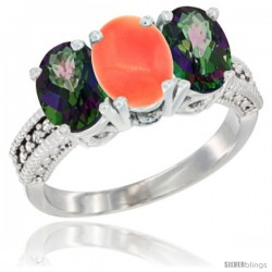 10K White Gold Natural Coral & Mystic Topaz Sides Ring 3-Stone Oval 7x5 mm Diamond Accent
