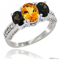 14k White Gold Ladies Oval Natural Citrine 3-Stone Ring with Smoky Topaz Sides Diamond Accent