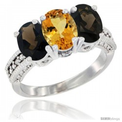 14K White Gold Natural Citrine & Smoky Topaz Ring 3-Stone 7x5 mm Oval Diamond Accent