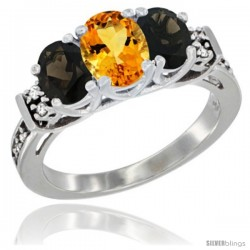 14K White Gold Natural Citrine & Smoky Topaz Ring 3-Stone Oval with Diamond Accent