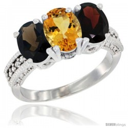 14K White Gold Natural Smoky Topaz, Citrine & Garnet Ring 3-Stone 7x5 mm Oval Diamond Accent