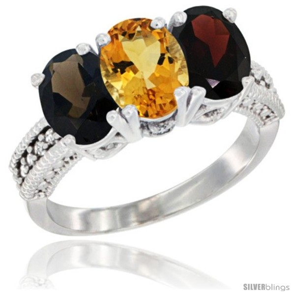https://www.silverblings.com/58513-thickbox_default/14k-white-gold-natural-smoky-topaz-citrine-garnet-ring-3-stone-7x5-mm-oval-diamond-accent.jpg