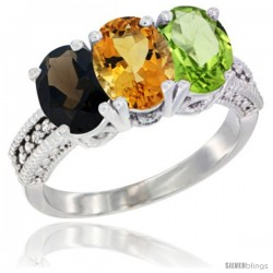 14K White Gold Natural Smoky Topaz, Citrine & Peridot Ring 3-Stone 7x5 mm Oval Diamond Accent