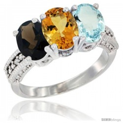 14K White Gold Natural Smoky Topaz, Citrine & Aquamarine Ring 3-Stone 7x5 mm Oval Diamond Accent