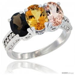 14K White Gold Natural Smoky Topaz, Citrine & Morganite Ring 3-Stone 7x5 mm Oval Diamond Accent