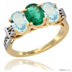 10K Yellow Gold Natural Emerald & Aquamarine Sides Ring 3-Stone Oval 7x5 mm Diamond Accent