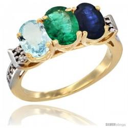 10K Yellow Gold Natural Aquamarine, Emerald & Blue Sapphire Ring 3-Stone Oval 7x5 mm Diamond Accent