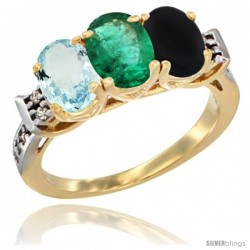 10K Yellow Gold Natural Aquamarine, Emerald & Black Onyx Ring 3-Stone Oval 7x5 mm Diamond Accent