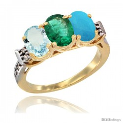 10K Yellow Gold Natural Aquamarine, Emerald & Turquoise Ring 3-Stone Oval 7x5 mm Diamond Accent