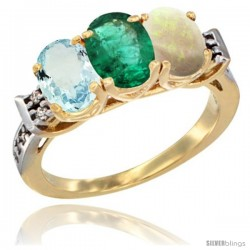 10K Yellow Gold Natural Aquamarine, Emerald & Opal Ring 3-Stone Oval 7x5 mm Diamond Accent