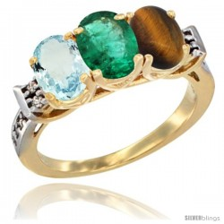 10K Yellow Gold Natural Aquamarine, Emerald & Tiger Eye Ring 3-Stone Oval 7x5 mm Diamond Accent