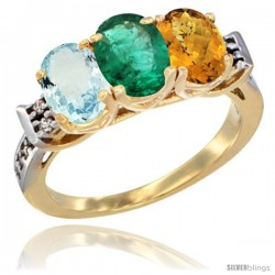 10K Yellow Gold Natural Aquamarine, Emerald & Whisky Quartz Ring 3-Stone Oval 7x5 mm Diamond Accent