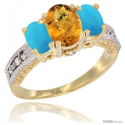 14k Yellow Gold Ladies Oval Natural Whisky Quartz 3-Stone Ring with Turquoise Sides Diamond Accent