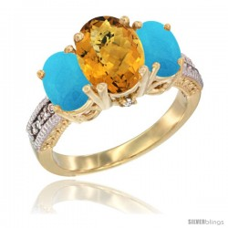 14K Yellow Gold Ladies 3-Stone Oval Natural Whisky Quartz Ring with Turquoise Sides Diamond Accent