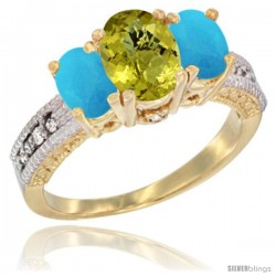 14k Yellow Gold Ladies Oval Natural Lemon Quartz 3-Stone Ring with Turquoise Sides Diamond Accent