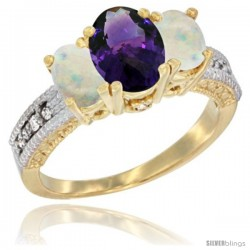 14k Yellow Gold Ladies Oval Natural Amethyst 3-Stone Ring with Opal Sides Diamond Accent