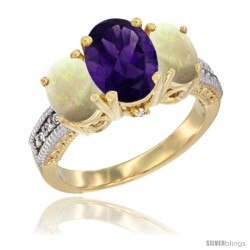 14K Yellow Gold Ladies 3-Stone Oval Natural Amethyst Ring with Opal Sides Diamond Accent