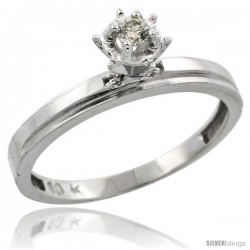 Sterling Silver Diamond Engagement Ring, w/ 0.05 Carat Brilliant Cut Diamonds, 1/8 in. (3mm) wide -Style Ag106er