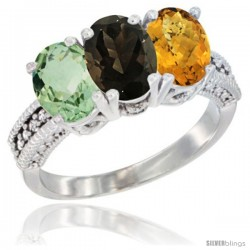 14K White Gold Natural Green Amethyst, Smoky Topaz & Whisky Quartz Ring 3-Stone 7x5 mm Oval Diamond Accent