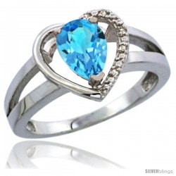 10K White Gold Natural Swiss Blue Topaz Ring Heart-shape 5 mm Stone Diamond Accent