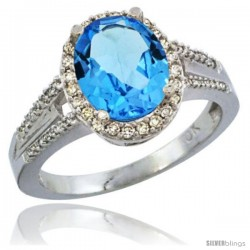 10K White Gold Natural Swiss Blue Topaz Ring Oval 10x8 Stone Diamond Accent
