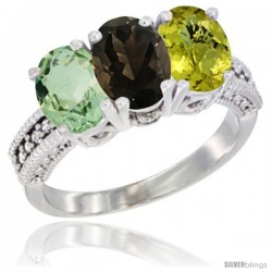 14K White Gold Natural Green Amethyst, Smoky Topaz & Lemon Quartz Ring 3-Stone 7x5 mm Oval Diamond Accent