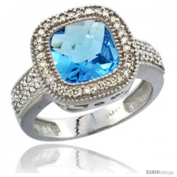 10K White Gold Natural Swiss Blue Topaz Ring Cushion-cut 9x9 Stone Diamond Accent