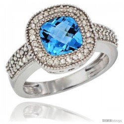 10K White Gold Natural Swiss Blue Topaz Ring Cushion-cut 7x7 Stone Diamond Accent