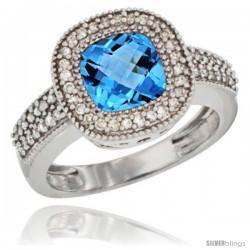 10K White Gold Natural Swiss Blue Topaz Ring Cushion-cut 7x7 Stone Diamond Accent
