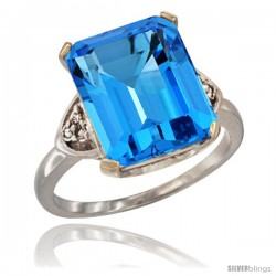10K White Gold Natural Swiss Blue Topaz Ring Emerald-shape 12x10 Stone Diamond Accent