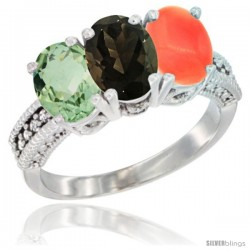 14K White Gold Natural Green Amethyst, Smoky Topaz & Coral Ring 3-Stone 7x5 mm Oval Diamond Accent