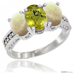 14K White Gold Natural Lemon Quartz & Opal Sides Ring 3-Stone 7x5 mm Oval Diamond Accent