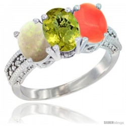 14K White Gold Natural Opal, Lemon Quartz & Coral Ring 3-Stone 7x5 mm Oval Diamond Accent
