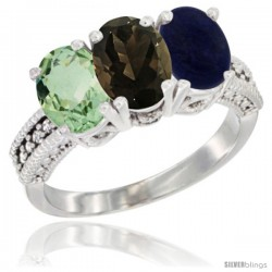 14K White Gold Natural Green Amethyst, Smoky Topaz & Lapis Ring 3-Stone 7x5 mm Oval Diamond Accent