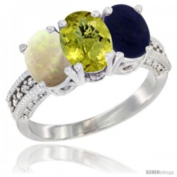 14K White Gold Natural Opal, Lemon Quartz & Lapis Ring 3-Stone 7x5 mm Oval Diamond Accent