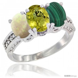 14K White Gold Natural Opal, Lemon Quartz & Malachite Ring 3-Stone 7x5 mm Oval Diamond Accent