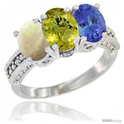 14K White Gold Natural Opal, Lemon Quartz & Tanzanite Ring 3-Stone 7x5 mm Oval Diamond Accent