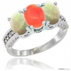 14K White Gold Natural Coral & Opal Sides Ring 3-Stone 7x5 mm Oval Diamond Accent